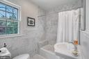 Second floor marble hall bath with bathtub - 7007 CONNECTICUT AVE, CHEVY CHASE