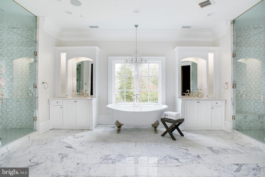 Master suite grand bathroom. 2 marble showers - 3301 FESSENDEN ST NW, WASHINGTON