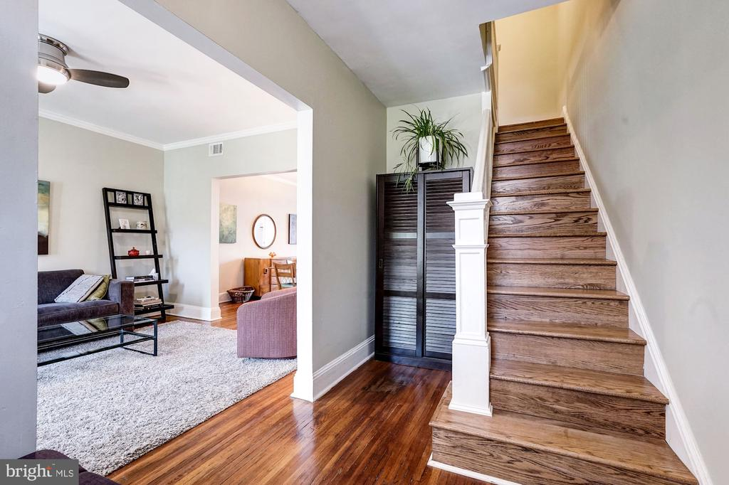 Gorgeous orig  wood floors thru main living space. - 4604 9TH ST NW, WASHINGTON