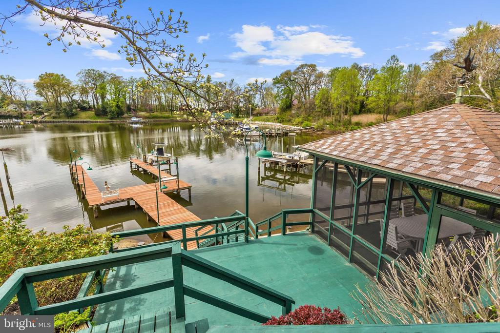 Elevated View of Private U-Shaped Pier & Sun Deck - 1128 ASQUITH DR, ARNOLD