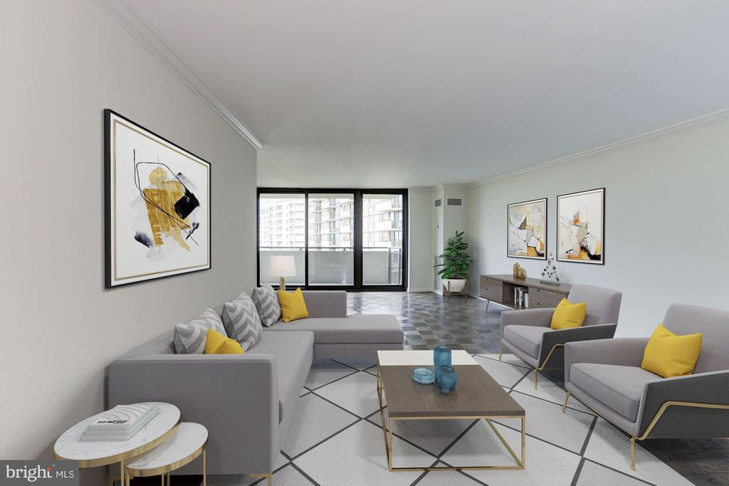Living room Virtually Staged - 4620 N PARK AVE #1005E, CHEVY CHASE