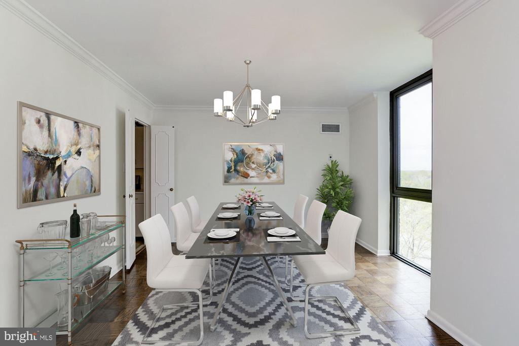 Dining Room Virtually Staged - 4620 N PARK AVE #1005E, CHEVY CHASE