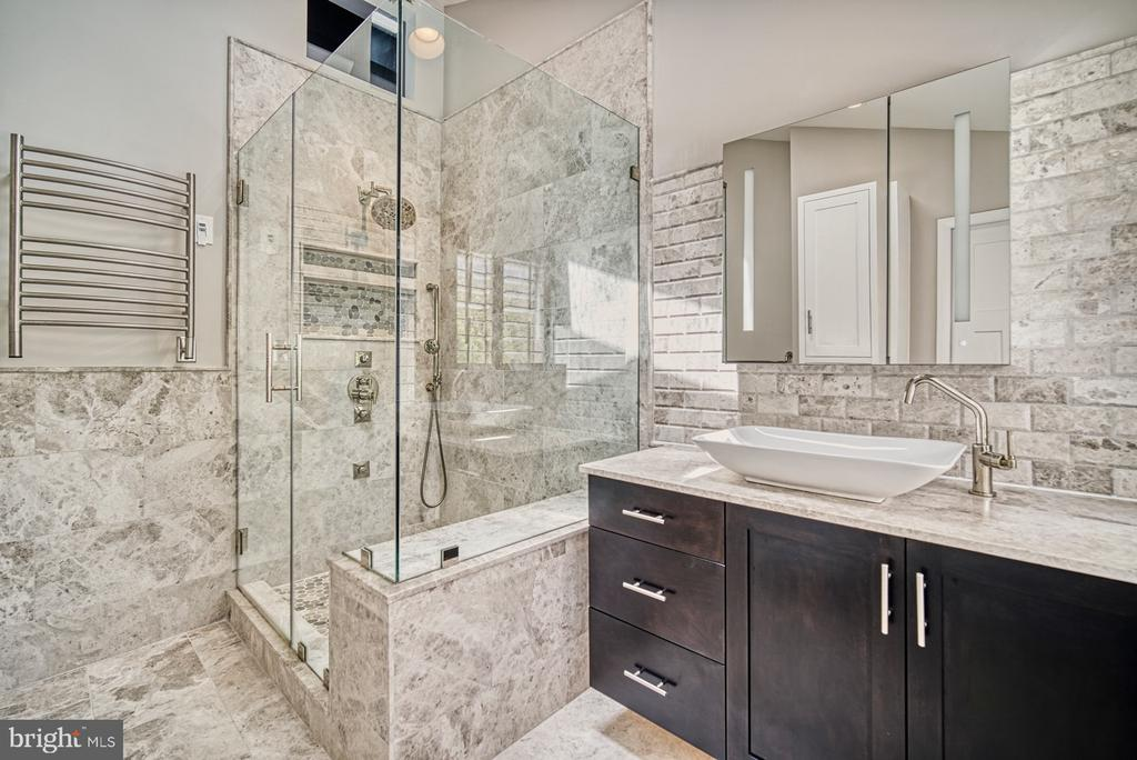 Master Bath has silver shadow marble - 11338 LINKS DR, RESTON