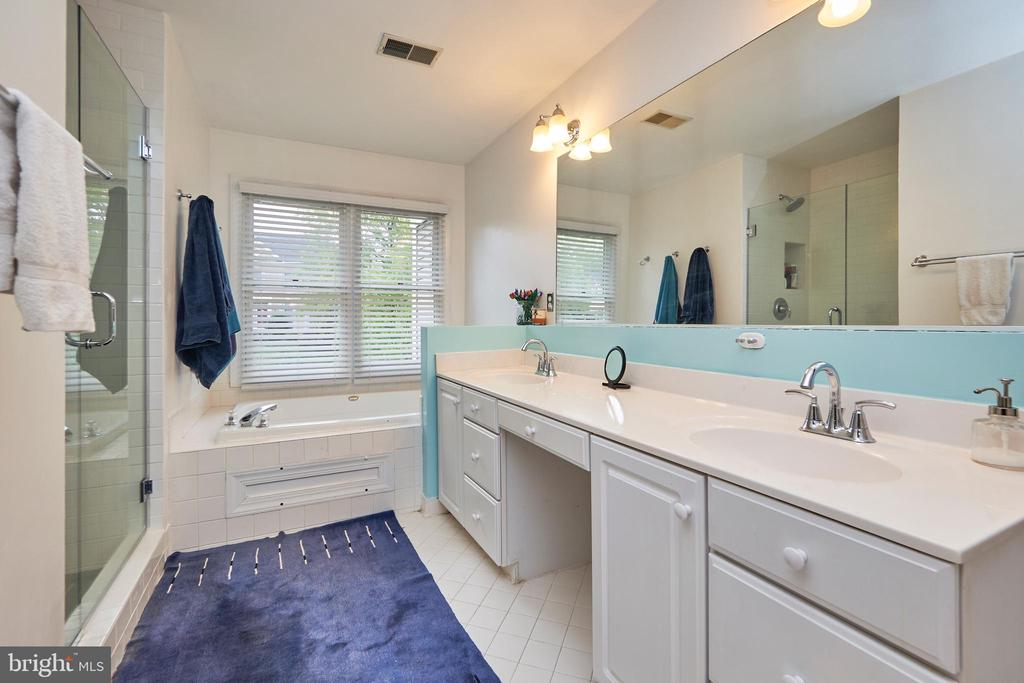Master Bathroom with 2 Sinks and New Shower - 5809 MAGNOLIA LN, FALLS CHURCH