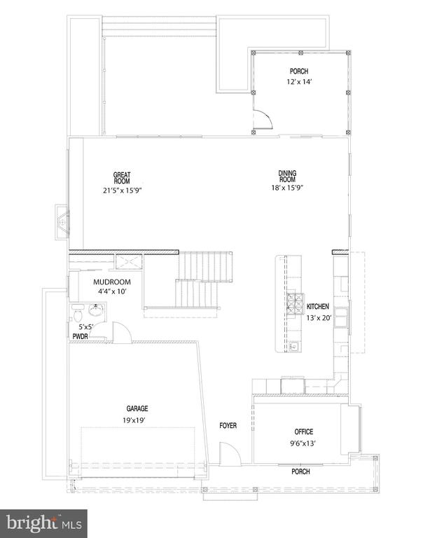 First Level Floorplan, note angled art wall - 114 TAPAWINGO RD SW, VIENNA
