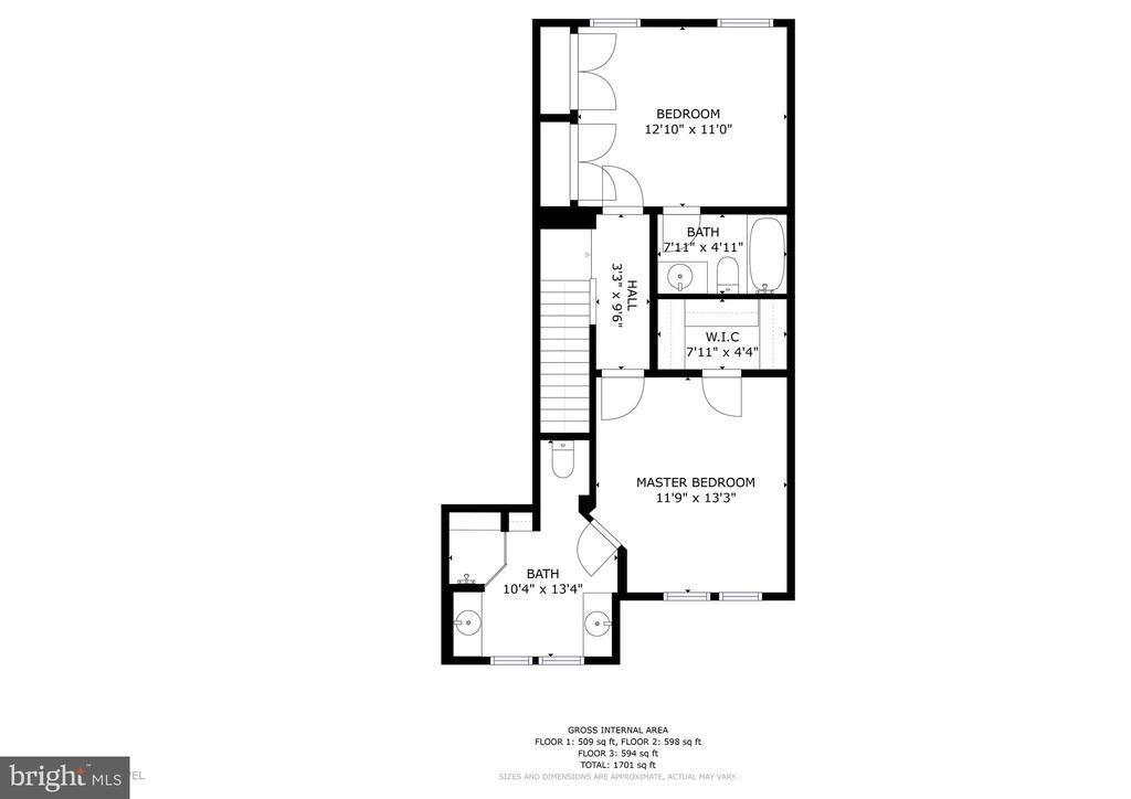 Upper-level floor plan - 7475 RIDING MEADOW WAY, MANASSAS