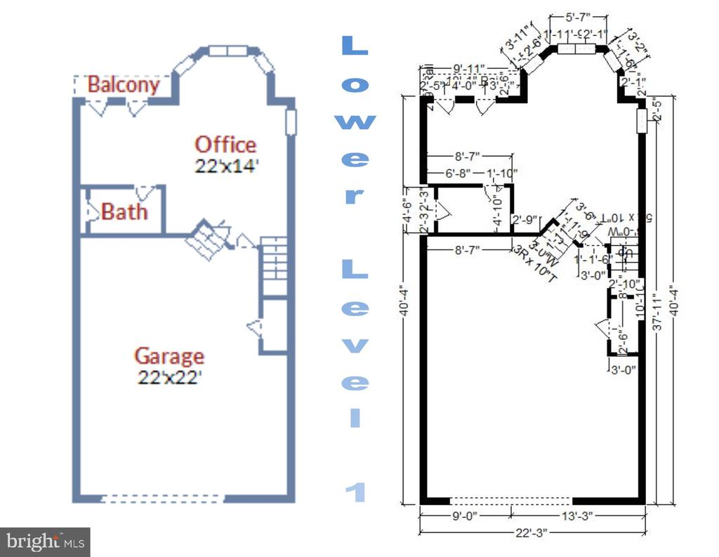 Lower Level 1 - Floorplan and Room Dimensions - 1911 LOGAN MANOR DR, RESTON