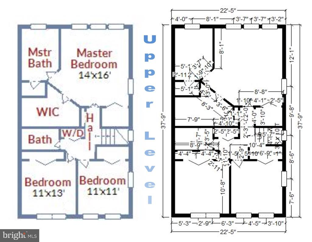 Upper Level 1 - Floorplan and Room Dimensions - 1911 LOGAN MANOR DR, RESTON
