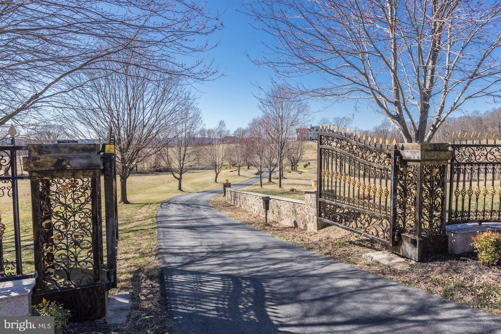 Elegant gated entrance to the estate. - 15929 BRIDLEPATH LN, PAEONIAN SPRINGS