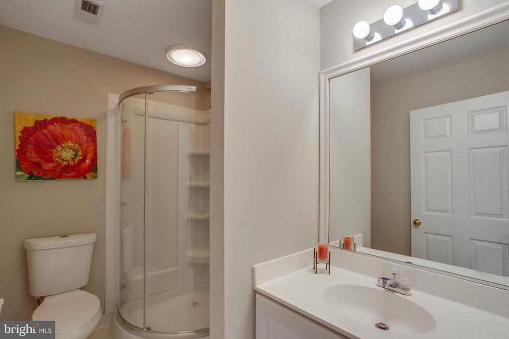 Hall bath w/ separate vanity area & curved shower - 43771 APACHE WELLS TER, LEESBURG