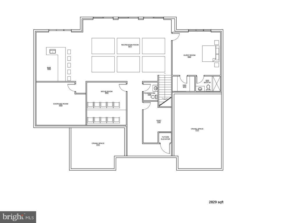 Lower Level Floor Plan 2829 sqft - 1100 LEIGH MILL RD, GREAT FALLS