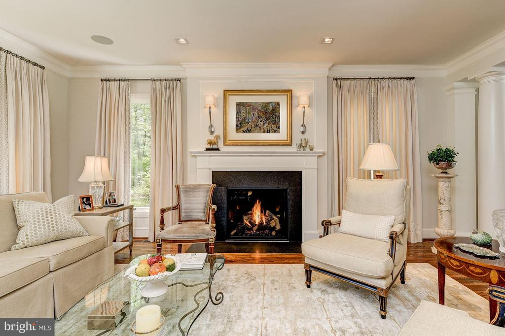 Living Room features lovely gas fireplace - 5321 GOLDSBORO RD, BETHESDA