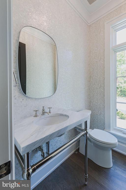 Powder room with custom tiles and wall paper - 2860 UNIVERSITY TER NW, WASHINGTON