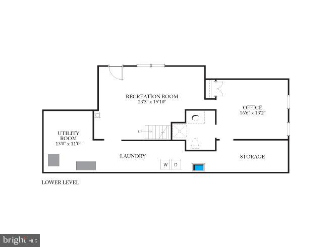 Existing home's lower level floor plan - 7358 SHENANDOAH AVE, ANNANDALE