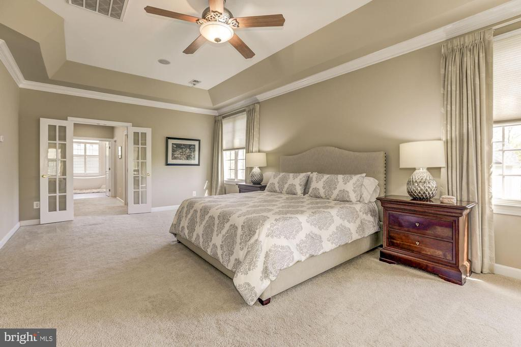 Master bedroom with doors to dressing area - 43285 OVERVIEW PL, LEESBURG