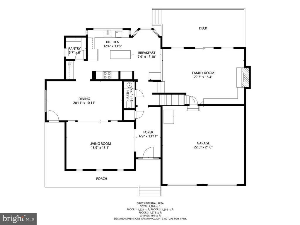 Main Level Floor Plan - 1281 AUBURN GROVE LN, RESTON