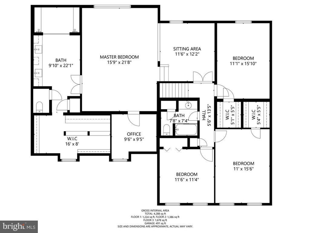 Upper Level Floor Plan - 1281 AUBURN GROVE LN, RESTON