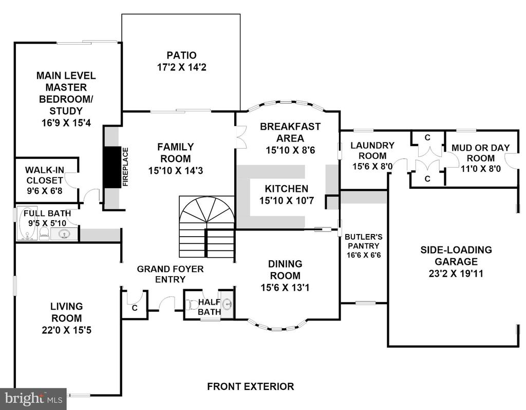 Main Level (Dimensions/Scale Approximate) - 3905 BELLE RIVE TER, ALEXANDRIA
