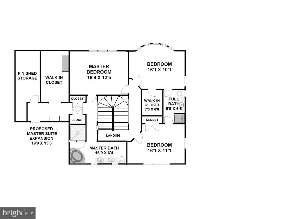 Upper Level Suggested Expansion of MBR & MBR Bath - 3905 BELLE RIVE TER, ALEXANDRIA