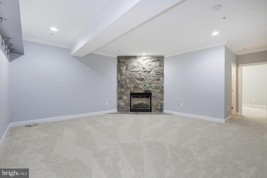 New carpet in the rec room with stone fireplace - 5900 RYLAND DR, BETHESDA