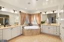 Luxurious Master Bath w/his & her vanities - 2976 TROUSSEAU LN, OAKTON