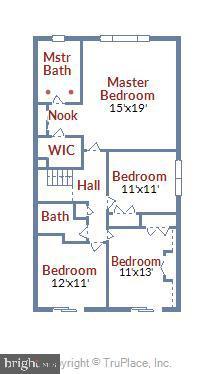 Upper Level Floor Plan - 6604 PERSIMMON TREE RD, BETHESDA