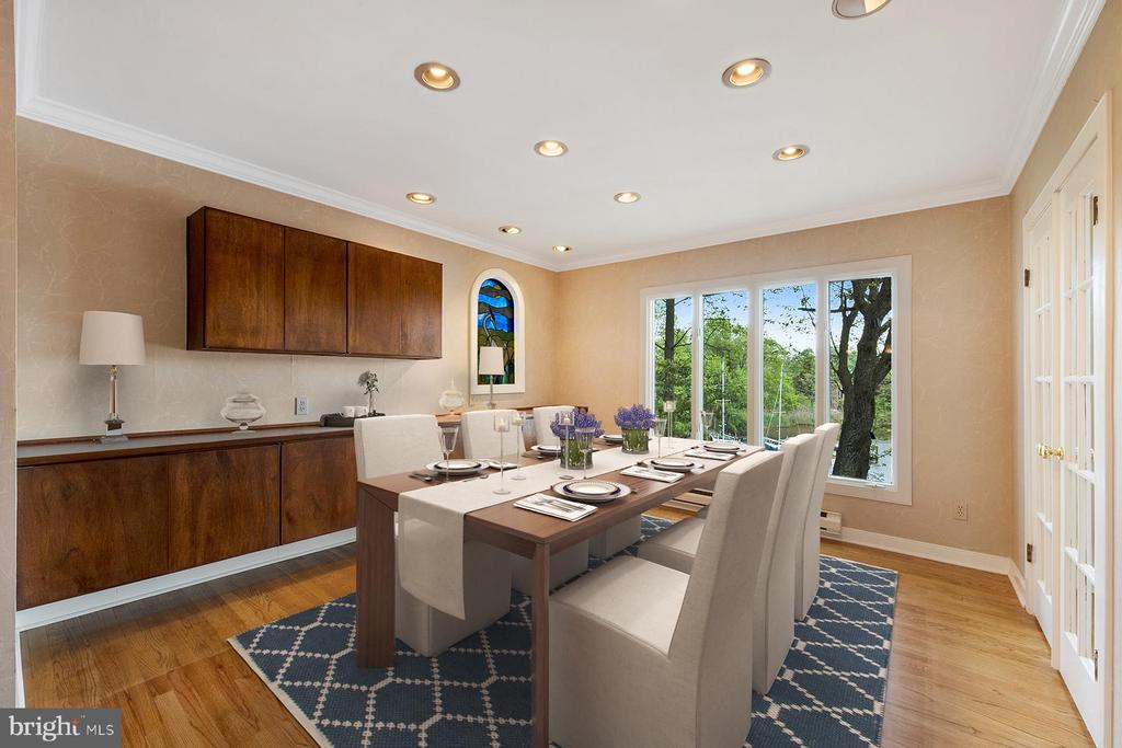 Dining room with water views, staged - 104 FOGLE DR, ANNAPOLIS