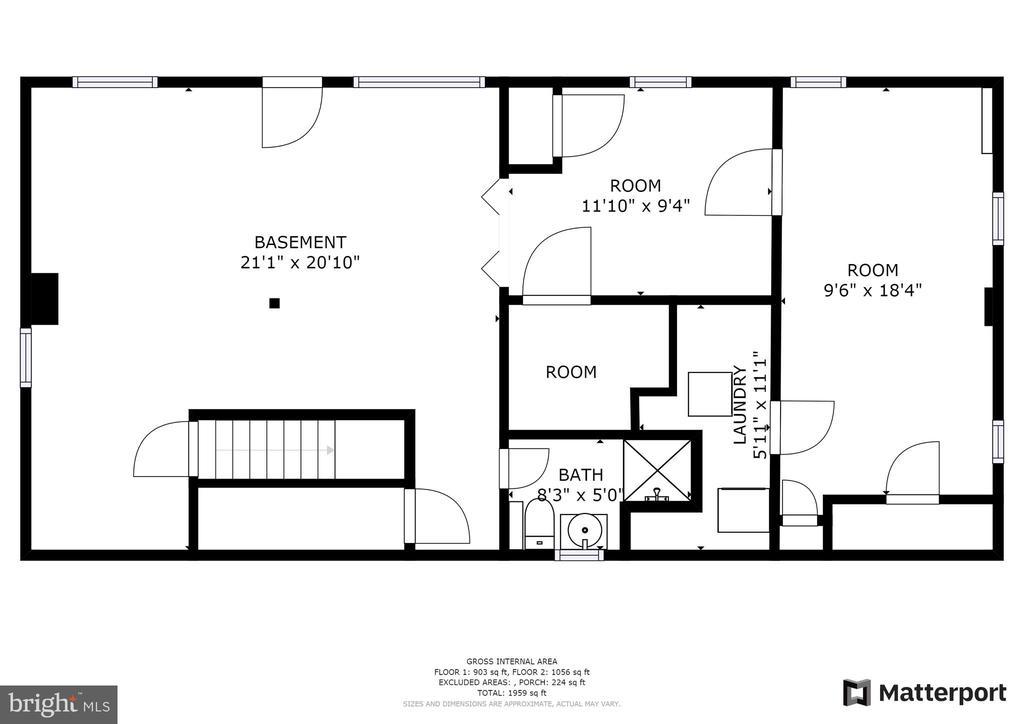 Lower level floor plan~rendering - 2612 HILLSMAN ST, FALLS CHURCH