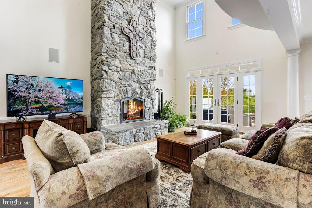 Great Room and Two-story Stone Fireplace - 6655 DETRICK RD, MOUNT AIRY