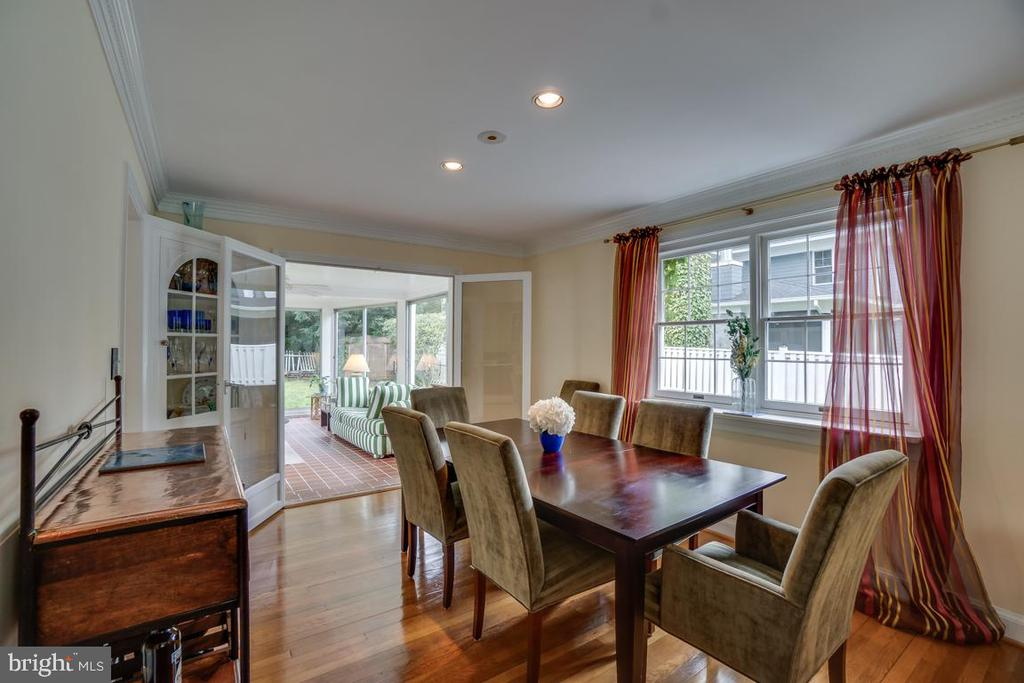 Dining room: HW floors, French doors to sunroom - 5824 BRADLEY BLVD, BETHESDA