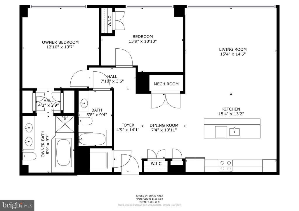 Floor Plan - 3409 WILSON BLVD #504, ARLINGTON