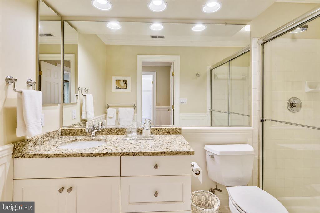 Guest bath  w/ shower, granite counter, tile flr. - 236 MOUNTAIN LAUREL LN, ANNAPOLIS