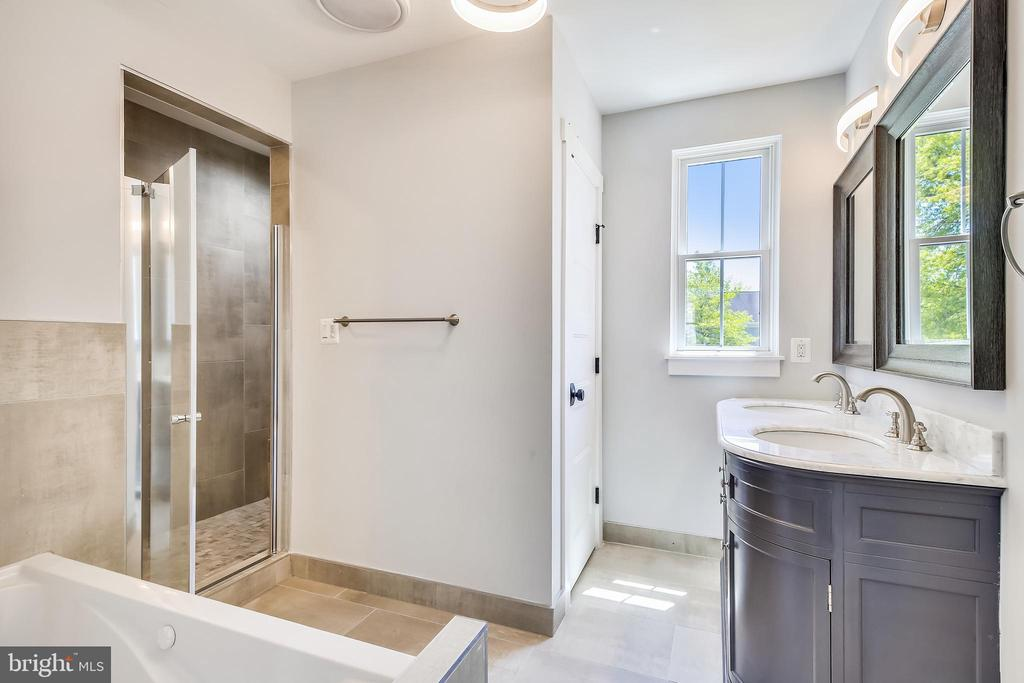 Master bath. Double shower, dual vanity, spa tub. - 705 N BARTON ST, ARLINGTON