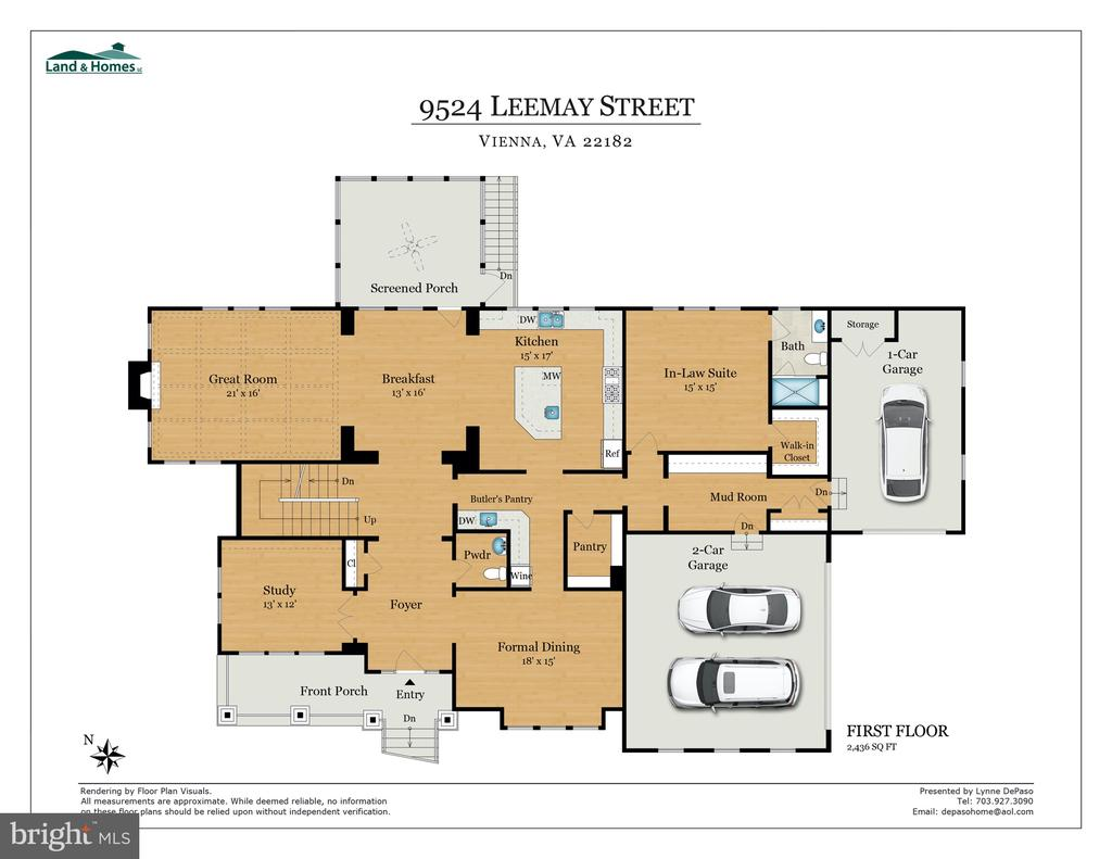 First Floor Plan - 9524 LEEMAY ST, VIENNA