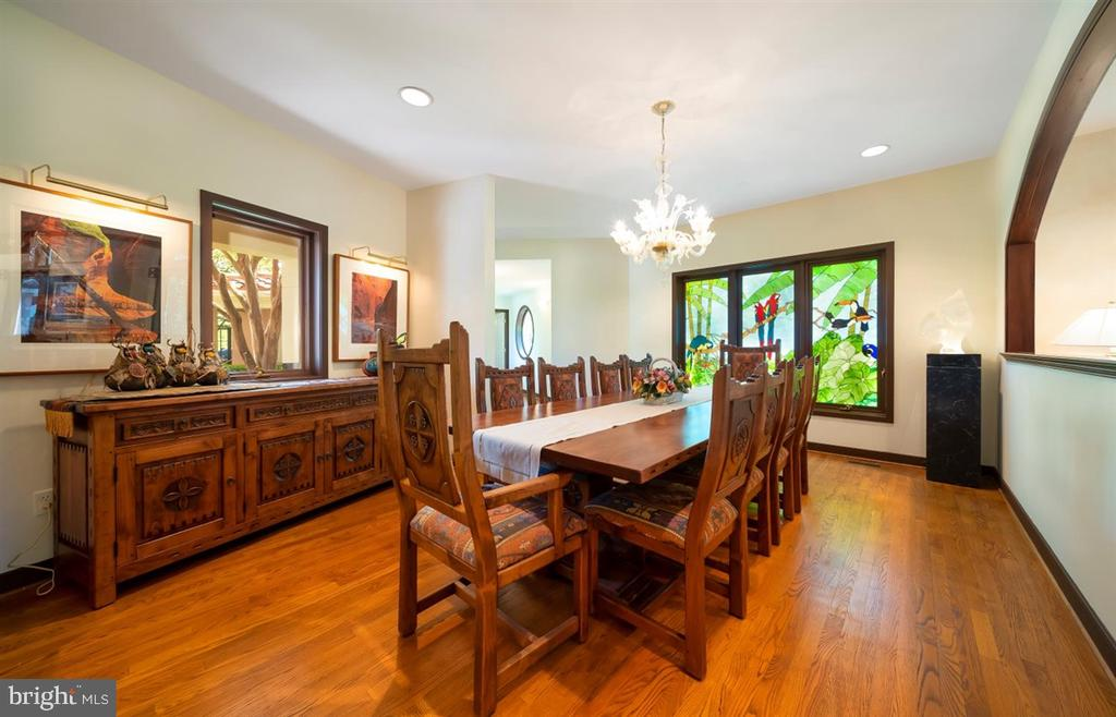 Dining Room features custom stain glass windows. - 6072 WHITE FLINT DR, FREDERICK