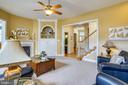 Family room with built-in entertainment niche - 206 WATKINS CIR, ROCKVILLE