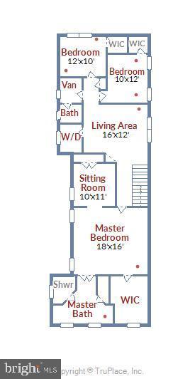 Upper Level Floor Plan- Sitting Room can be 4th BR - 20736 JENNIFER ANN DR, ASHBURN