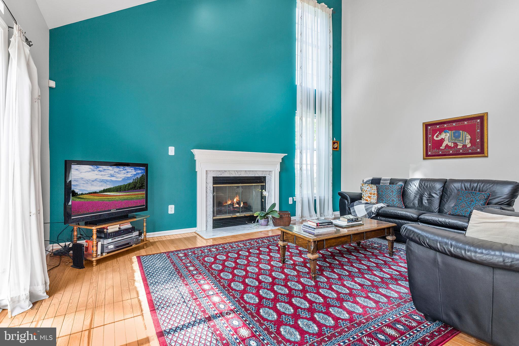 Family Room with gas-fireplace and skylights