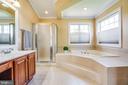 Master bath with custom lighting/ceiling fan. - 3 MOUNT ARARAT LN, STAFFORD