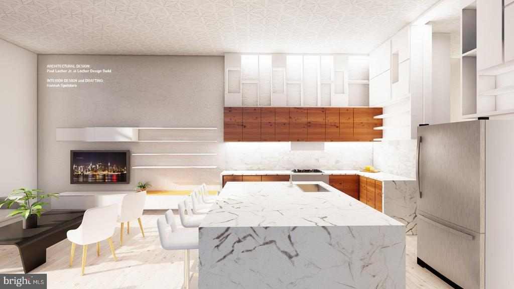 Design Concept 1 - Southern Facing View of Kitchen - 1314 21ST ST NW #1, WASHINGTON