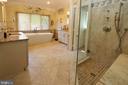 Renovated master bathroom with free-standing tub - 11331 BRIGHT POND LN, RESTON