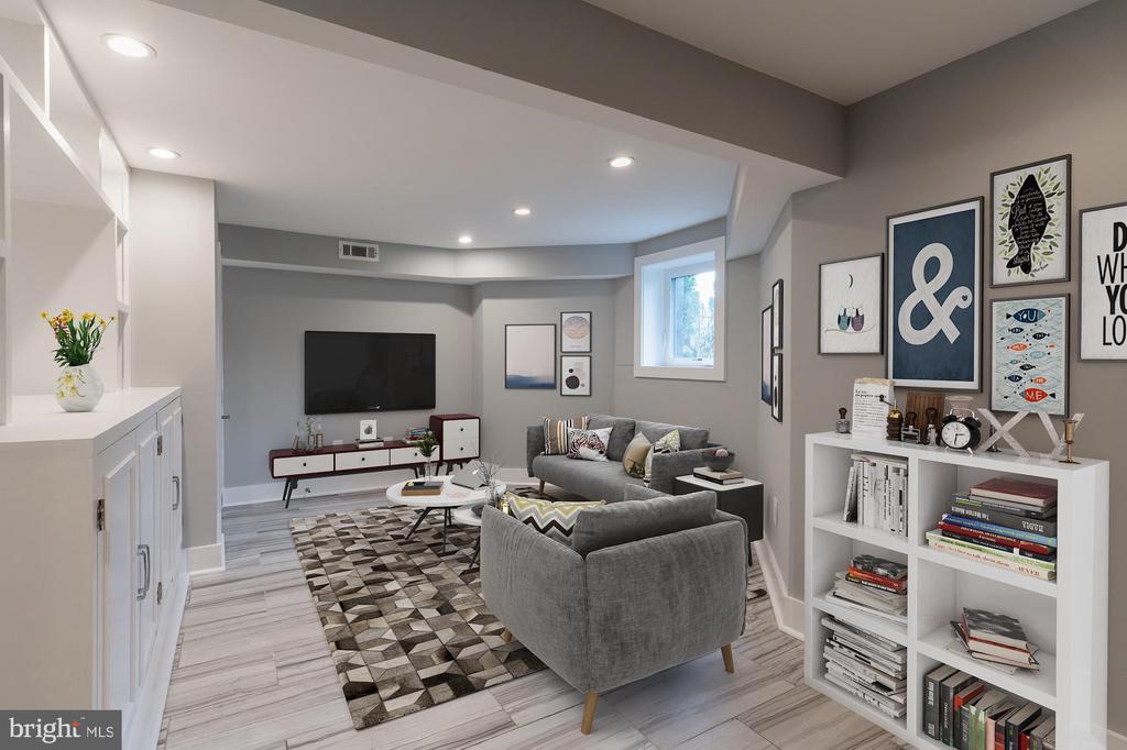 Lower Level Family Room Virtually Staged - 1421 NORTH CAROLINA AVE NE, WASHINGTON