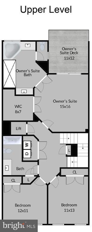 Upper Level Floor Plan - 6745 DARRELLS GRANT PL, FALLS CHURCH