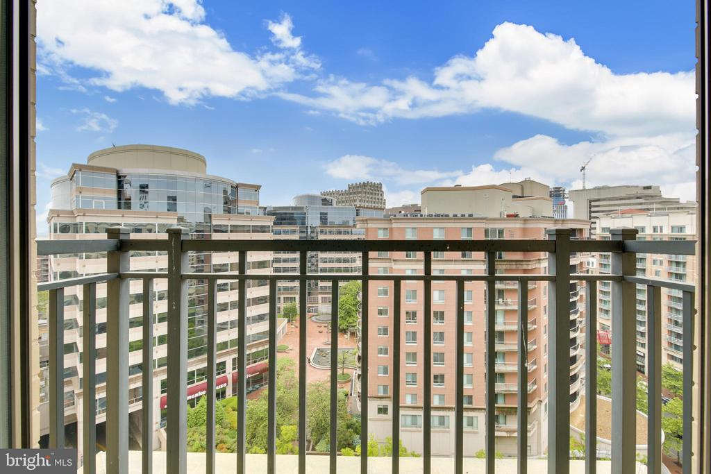 View From French Balcony Living Room - 7710 WOODMONT AVE #1207, BETHESDA