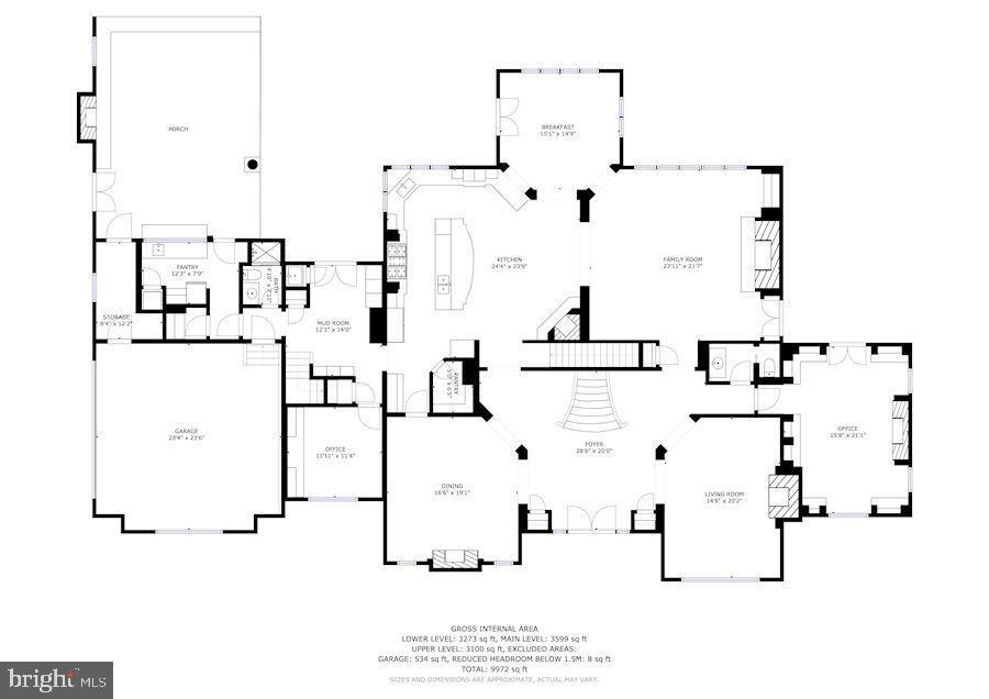 Upper Level Floor Plan - 606 DEERFIELD POND CT, GREAT FALLS