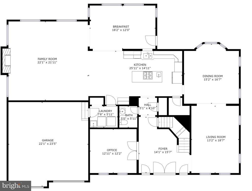 Main Level Floorplan - 4 BRANNIGAN DR, STAFFORD