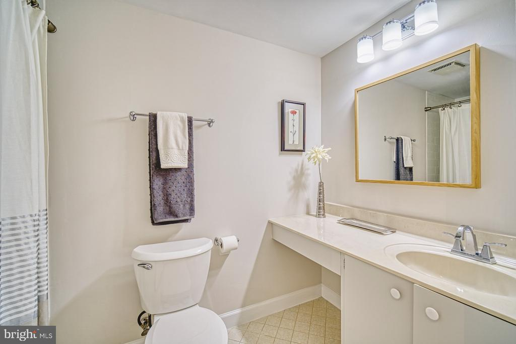 Hall bath in lower level - 9104 CRICKLEWOOD CT, VIENNA