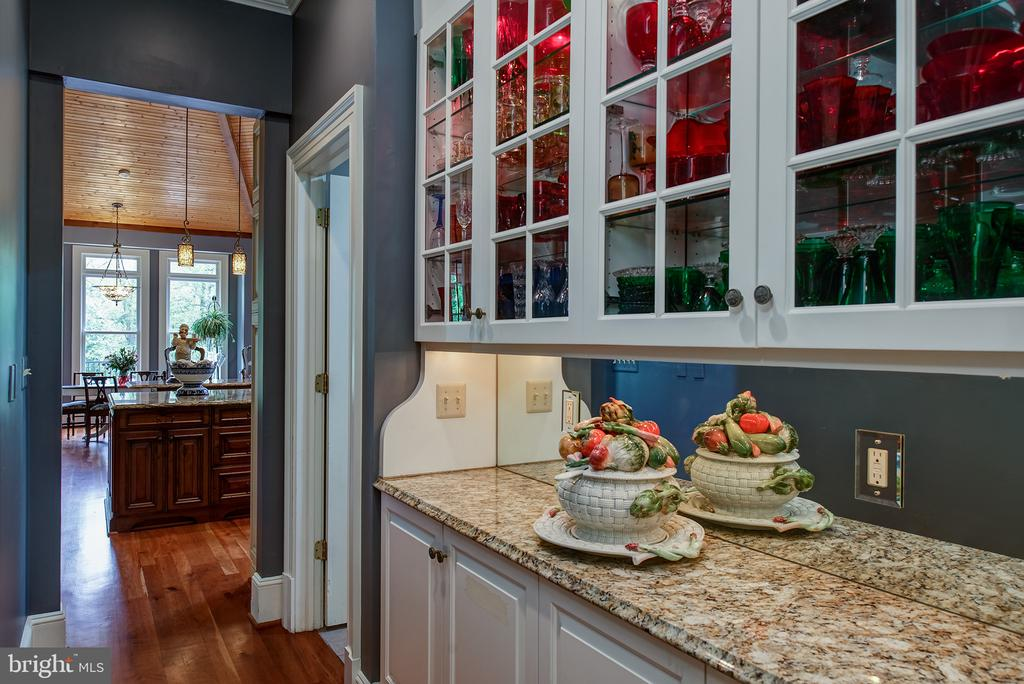 A butlers pantry with lighted cabinets & granite - 41430 FOX CREEK LN, LEESBURG