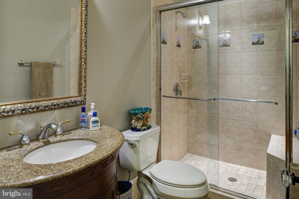 A glass door shower for a lower level bedroom - 41430 FOX CREEK LN, LEESBURG