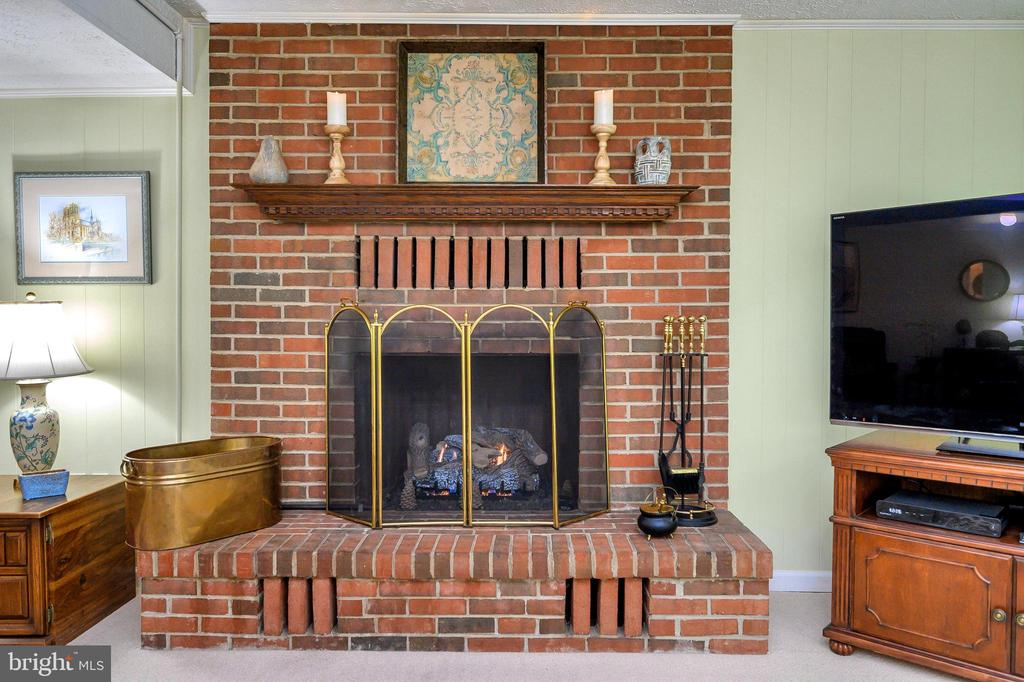 Gas fireplace with remote lower level rec room - 508 GLENEAGLE DR, FREDERICKSBURG